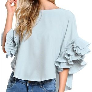Tops - Blue pleated ruffle sleeve top small